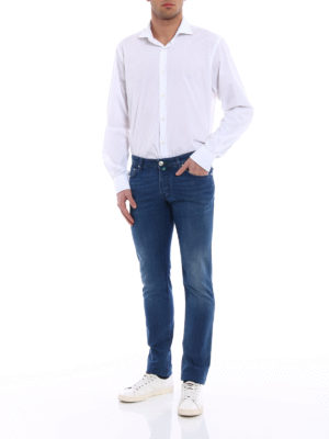 Jacob Cohen: straight leg jeans online - Faded jeans with green stitchings