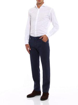 Jacob Cohen: straight leg jeans online - Garment dyed stretch cotton jeans