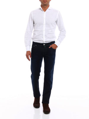 Jacob Cohen: straight leg jeans online - Green haircalf label jeans