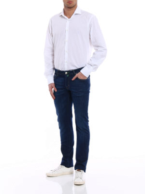 Jacob Cohen: straight leg jeans online - Green stitchings faded jeans