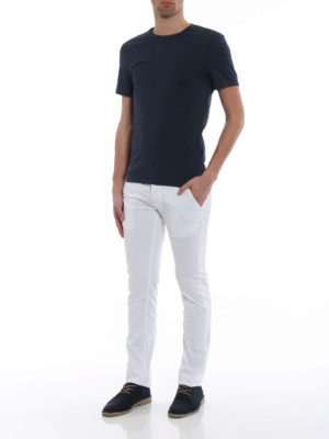 Jacob Cohen: straight leg jeans online - Hair calf logo label detailed jeans