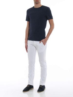 Jacob Cohen: straight leg jeans online - Hair calf logo label detailed jeans