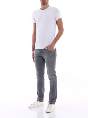Jacob Cohen: straight leg jeans online - Haircalf label detailed jeans