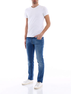 Jacob Cohen: straight leg jeans online - Handkerchief detail tailored jeans