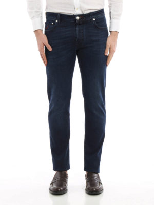 Jacob Cohen: straight leg jeans online - Italian flag denim jeans
