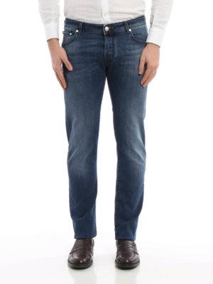 Jacob Cohen: straight leg jeans online - Italian flag denim jeans