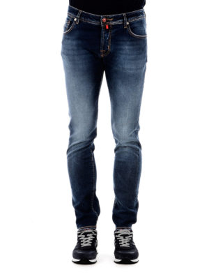 Jacob Cohen: straight leg jeans online - Lambretta label detailed jeans