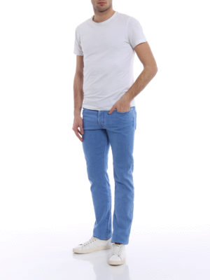 Jacob Cohen: straight leg jeans online - Light blue stretch cotton jeans