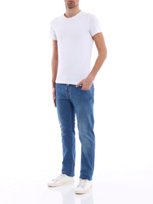 Jacob Cohen: straight leg jeans online - Natural indigo dyed tailored jeans