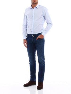 Jacob Cohen: straight leg jeans online - Printed leather label denim jeans