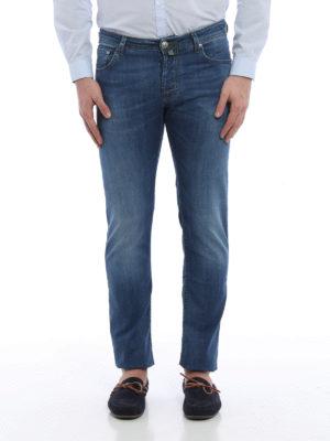 Jacob Cohen: straight leg jeans online - PW622 green stitches denim jeans
