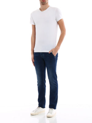 Jacob Cohen: straight leg jeans online - Rainbow handkerchief detailed jeans