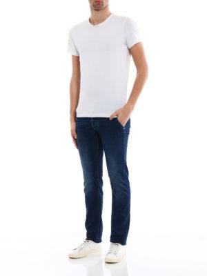 Jacob Cohen: straight leg jeans online - Rainbow handkerchief detailed jeans