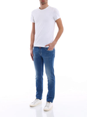 Jacob Cohen: straight leg jeans online - Red stitchings tailored jeans