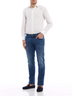 Jacob Cohen: straight leg jeans online - Stone wash stretch denim jeans