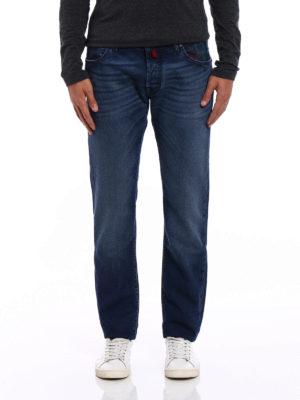Jacob Cohen: straight leg jeans online - Tartan Patch denim jeans