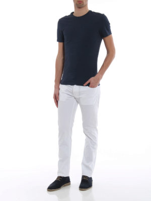 Jacob Cohen: straight leg jeans online - White logo label detailed jeans