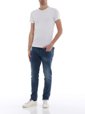 Jacob Cohen: straight leg jeans online - Yellow logo label detailed jeans