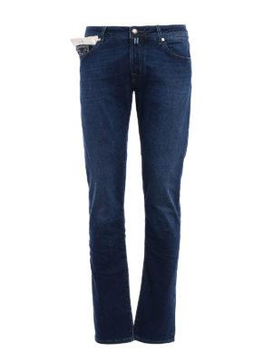 Jacob Cohen: straight leg jeans - Printed leather label denim jeans