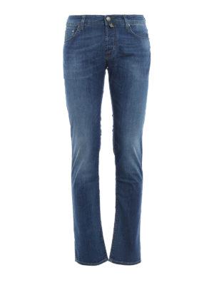 Jacob Cohen: straight leg jeans - PW622 green stitches denim jeans