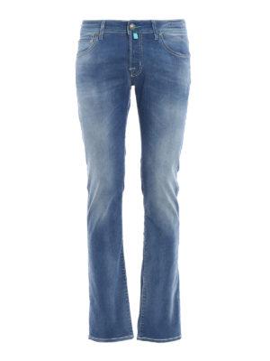 Jacob Cohen: straight leg jeans - PW622 light blue stitches jeans