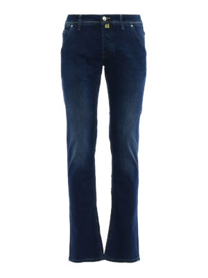 Jacob Cohen: straight leg jeans - Rainbow handkerchief detailed jeans