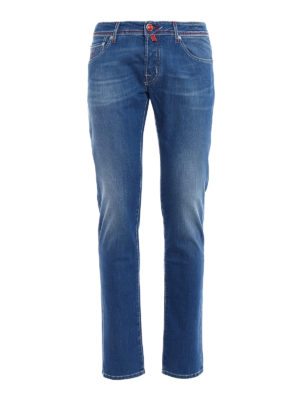 Jacob Cohen: straight leg jeans - Red stitchings tailored jeans