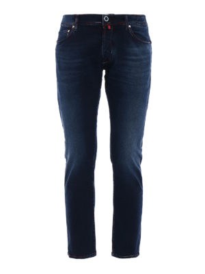 Jacob Cohen: straight leg jeans - Red white blue stitchings jeans