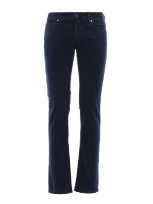 Jacob Cohen: straight leg jeans - Smooth cotton velvet jeans