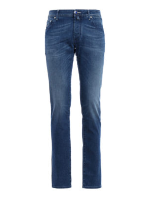 Jacob Cohen: straight leg jeans - Stone wash stretch denim jeans