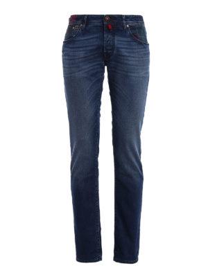 Jacob Cohen: straight leg jeans - Tartan Patch denim jeans