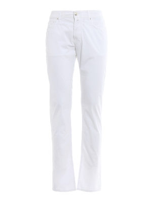 Jacob Cohen: straight leg jeans - White logo label detailed jeans