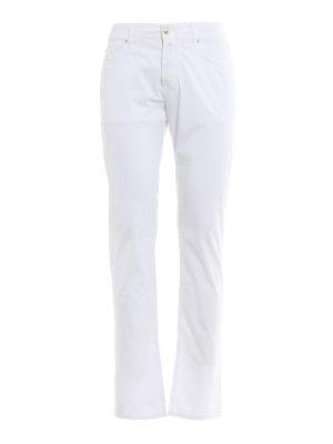 Jacob Cohen: straight leg jeans - White logo label detailed jeans