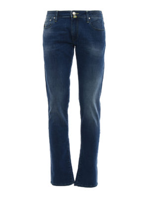 Jacob Cohen: straight leg jeans - Yellow logo label detailed jeans