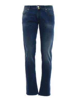Jacob Cohen: straight leg jeans - Yellow logo label detailed jeans