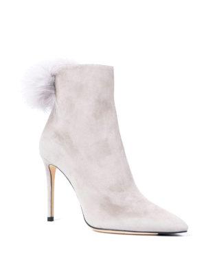 Jimmy Choo: ankle boots online - Tesler fur pom pom suede booties