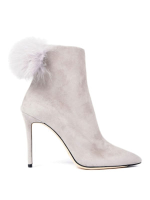 Jimmy Choo: ankle boots - Tesler fur pom pom suede booties
