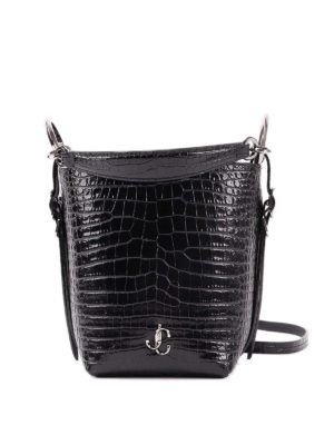 JIMMY CHOO: Bucket bags - Varenne croco effect leather bucket bag
