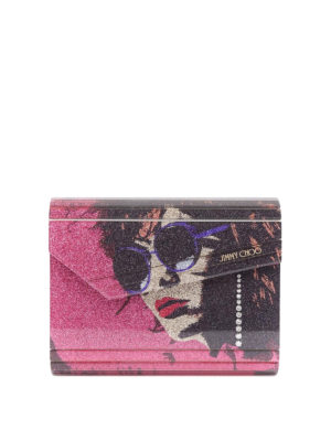Jimmy Choo: clutches - Candy Andie print glitter clutch