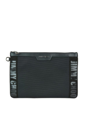JIMMY CHOO: pochette - Busta nera Derek in canvas e nylon