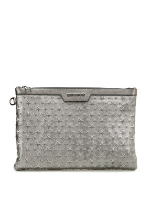 Jimmy Choo: clutches - Derek embossed stars napa clutch
