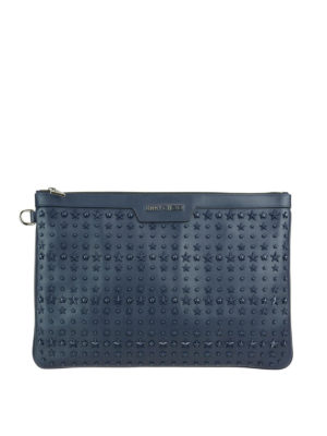 Jimmy Choo: clutches - Derek leather clutch with stars