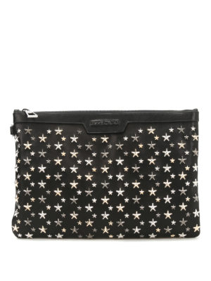 Jimmy Choo: clutches - Derek metal stars leather clutch