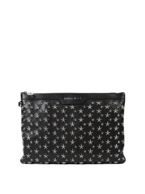Jimmy Choo: clutches - Derek silver metal stars clutch