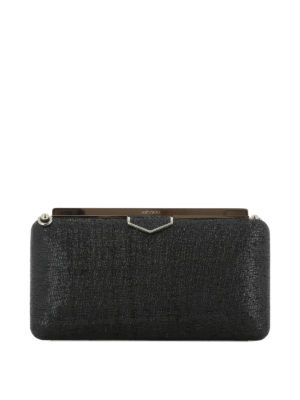 JIMMY CHOO: pochette - Clutch Ellipse in tessuto nero