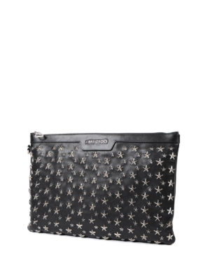 Jimmy Choo: clutches online - Derek silver metal stars clutch