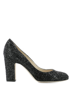 Jimmy Choo: court shoes - Billie 85 black glitter pumps
