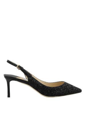 JIMMY CHOO: scarpe décolleté - Slingback Erin 60 tessuto glitter
