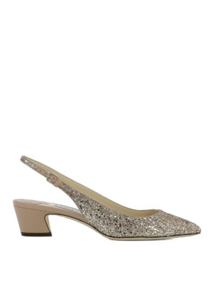 Jimmy Choo: court shoes - Gemma 40 glitter slingbacks