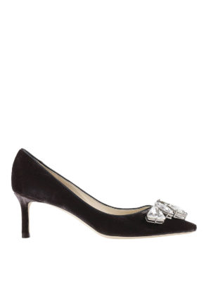 Jimmy Choo: court shoes - Marvel velvet pumps with crystals